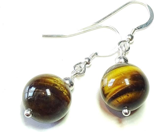 Golden Brown TIGERS EYE Gemstone /& CELTIC KNOT Sterling Silver Earrings