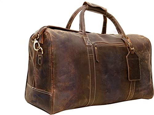 Genuine Buffalo Leather Travel Duffle Bag Overnight Weekend Leather Bag Sports Gym Duffel for Men Airplane Under Seat Carry on Bags