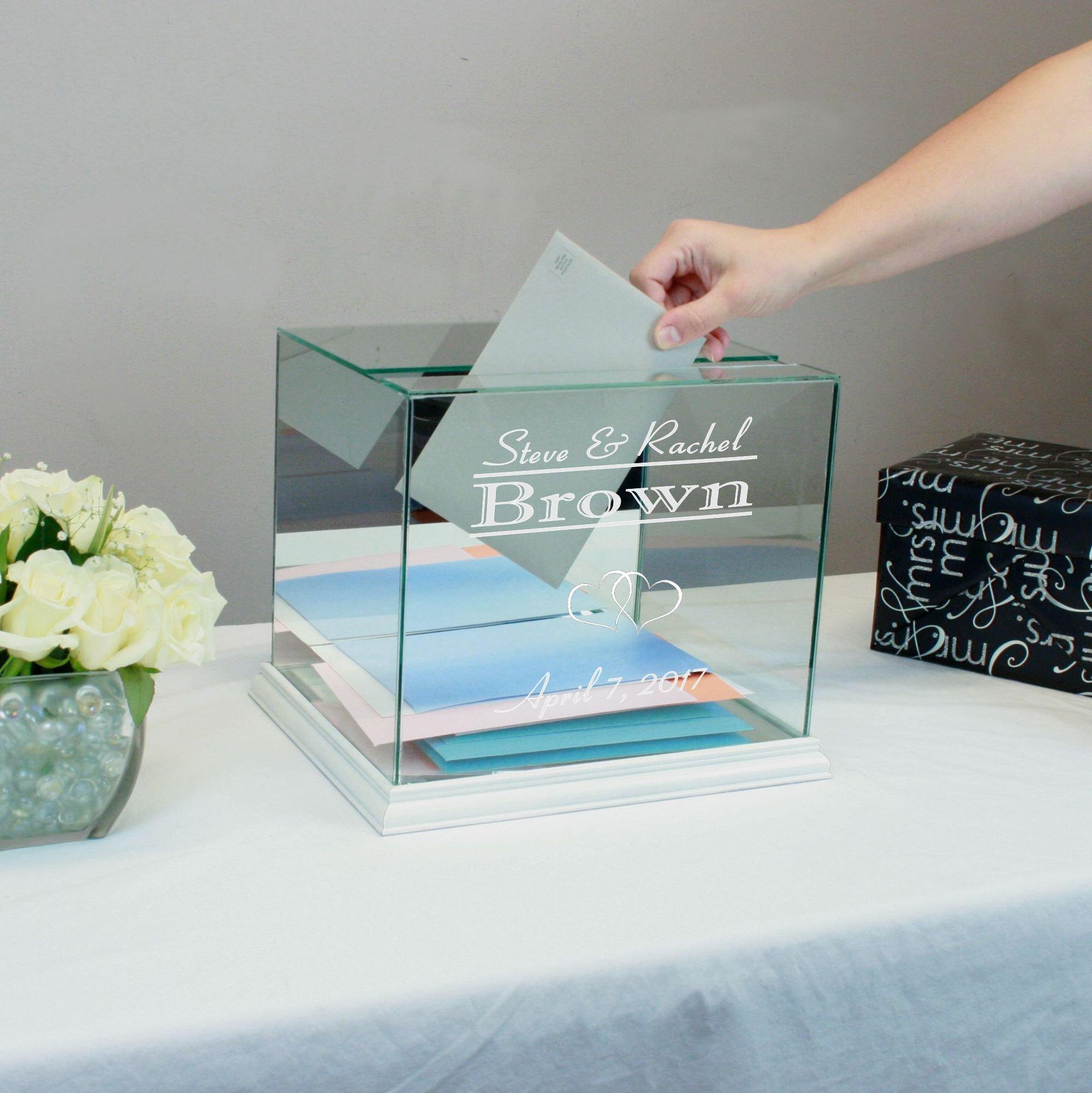 Personalized Glass Rectangle Wedding Card Box White