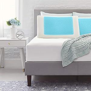Comfort Revolution Blue Bubble Gel + Memory Foam Pillow, King, White