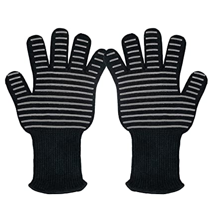 932F Extreme Heat Resistant Grilling Cooking Flexible Gloves,[EN407 Certified] Comfort Oven Mitts,Perfect for BBQ,Outdoor,Fireplace, Camping, Smoker,Oven, Potholder, Baking,Barbecue gloves -1 Pair