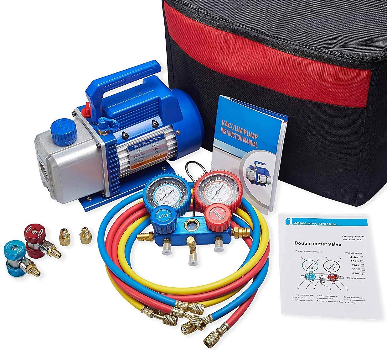 NewPositon 4CFM Air Vacuum Pump HVAC A/C Refrigeration Kit AC Manifold Gauge Set w/Leak Detector