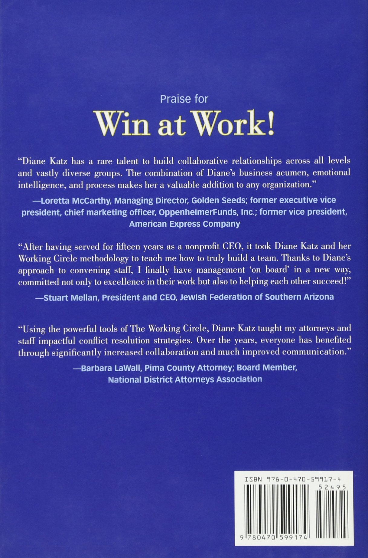Win at Work!: The Everybody Wins Approach to Conflict Resolution: Diane  Katz: 9780470599174: Amazon.com: Books