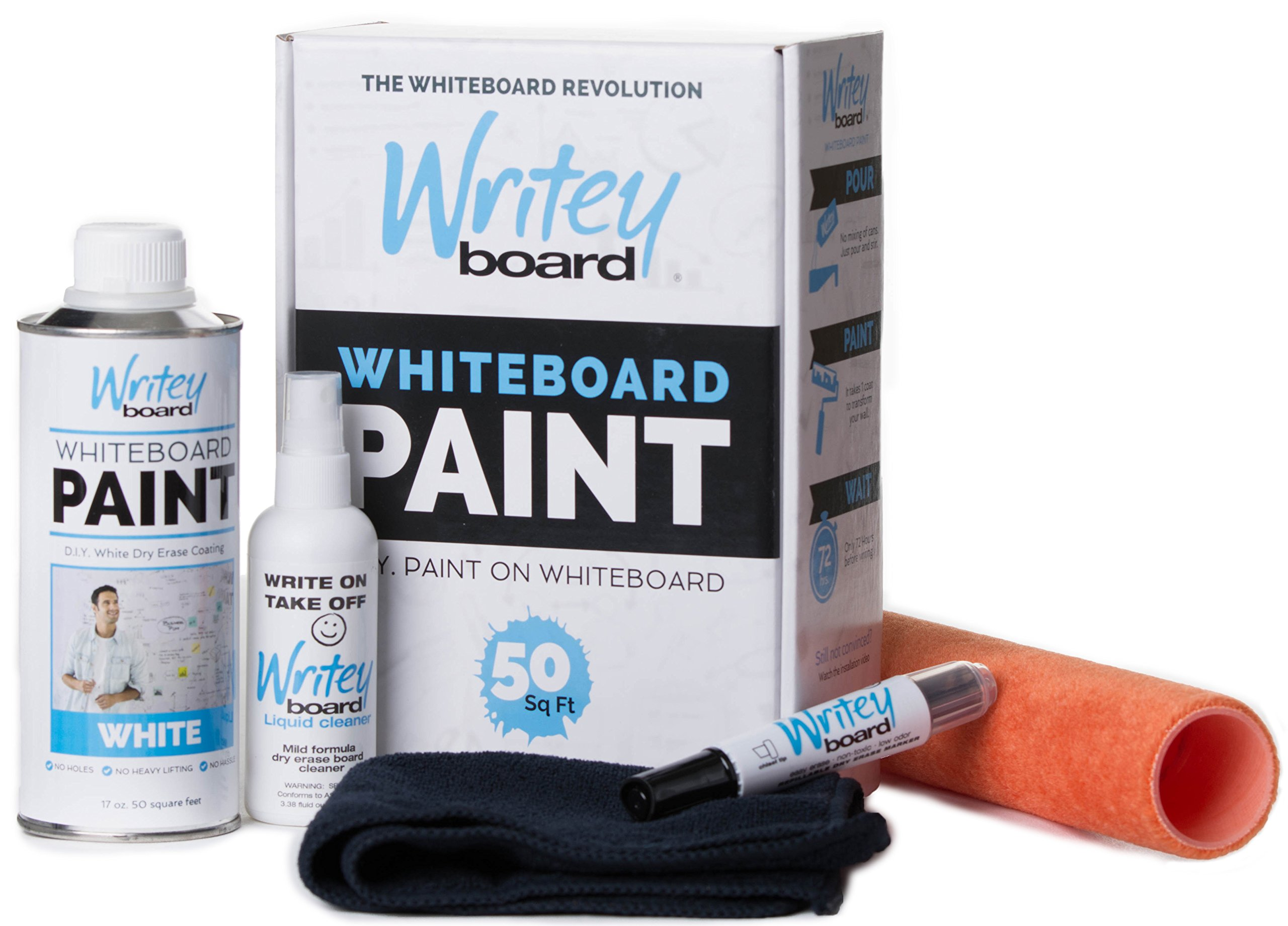 Writeyboard Premium 5 Piece Whiteboard Paint Kit, White Paint, with 9 Inch Roller, Covers 50 Square Feet