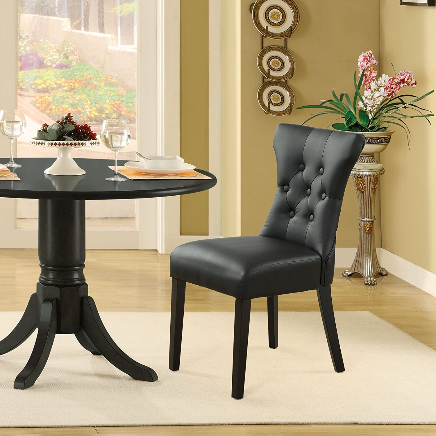 Modway Silhouette Tufted Faux Leather Parsons Dining Side Chair in Black - Set of 2