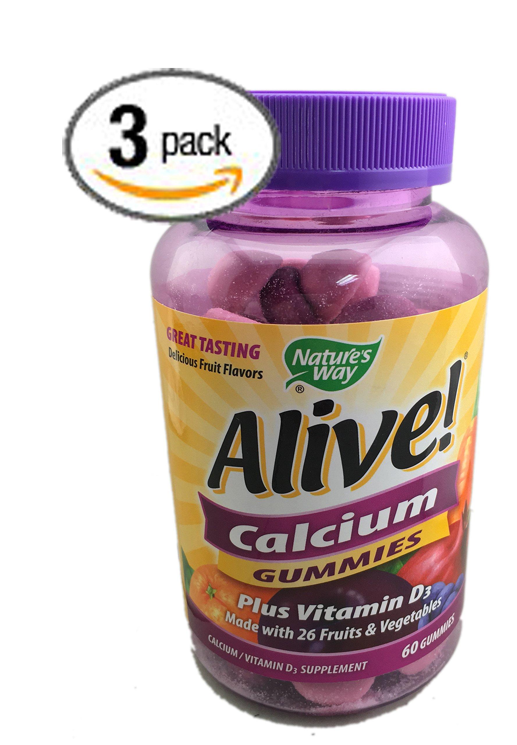 3-Pack Natures Way Alive! Calcium Gummies Plus Vitamin D3 - 60 Gummies Gluten Free and Vegetarian Friendly; 180 Calcium Gummies