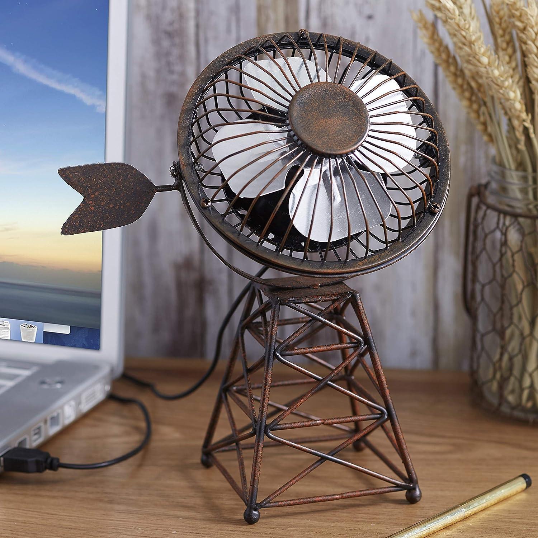 The Lakeside Collection Windmill Themed USB Desktop Fan - Rustic Farmhouse Appeal Desk Accessory
