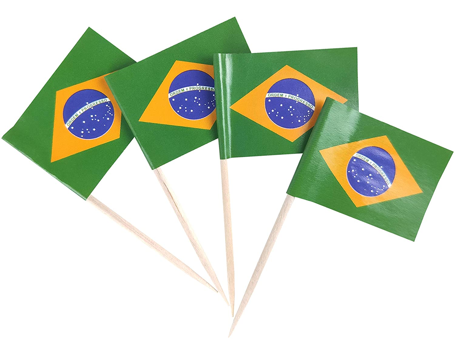 JBCD 200 Pcs Brazil Flag Toothpicks Brazilian Flags Cupcake Toppers Decorations, Cocktail Toothpick Flag Cake Topper Picks Mini Small Flag Cupcake Pick Sticks