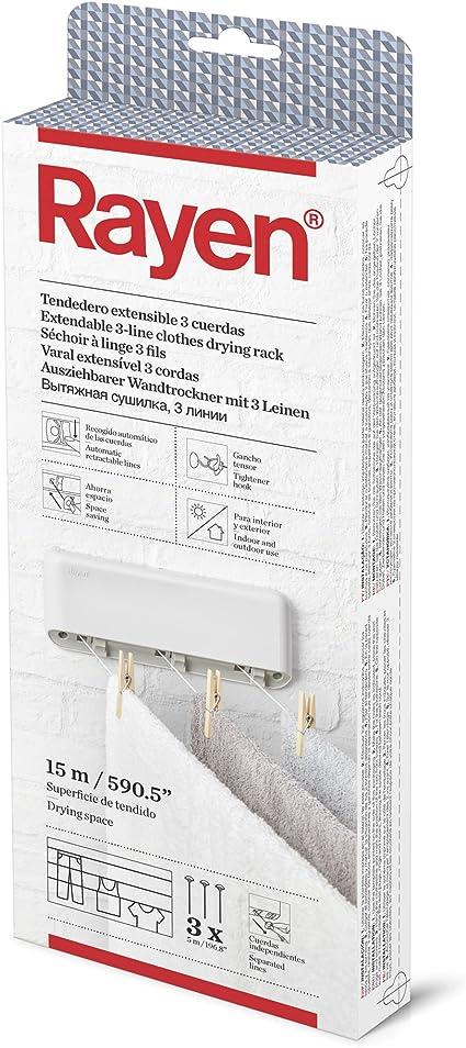 Tendedero retr/áctil de acero inoxidable con cuerda ajustable de 3,5 m montaje en pared para interior y exterior Verdelife