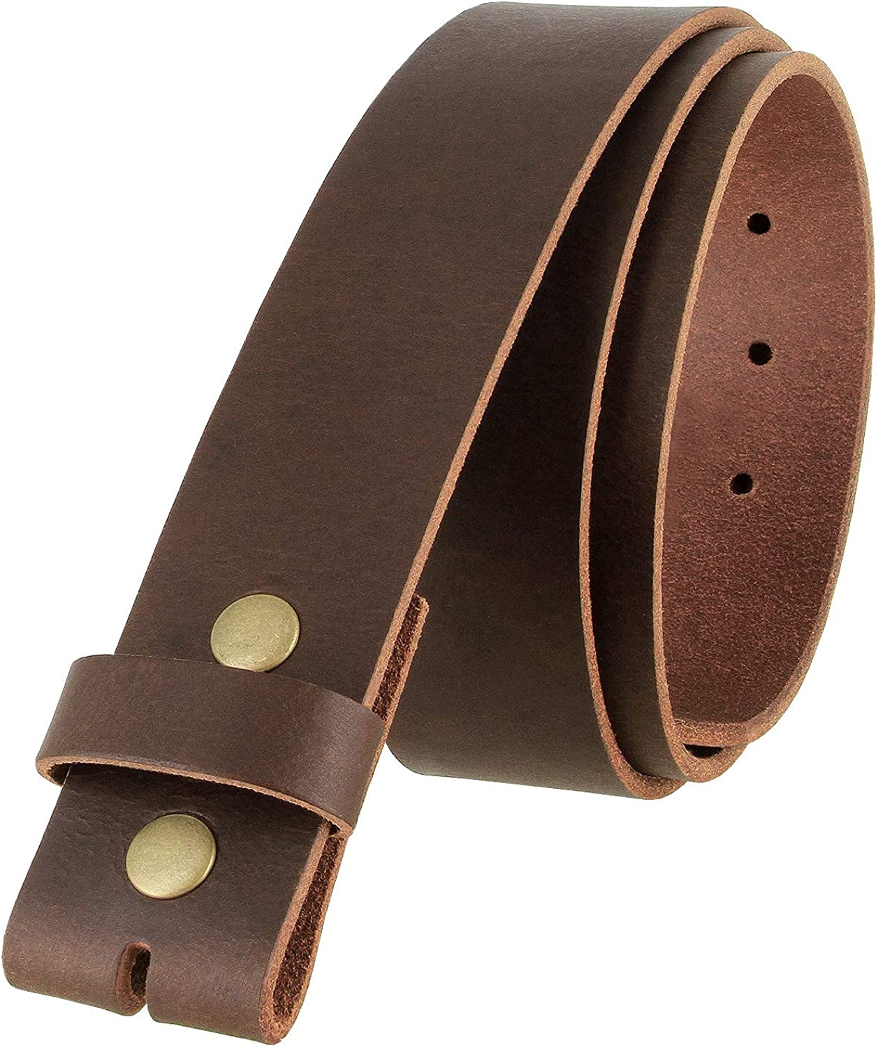 One Piece Full Grain Buffalo Oil Tanned Leather Replacement Belt Strap 1-1/2