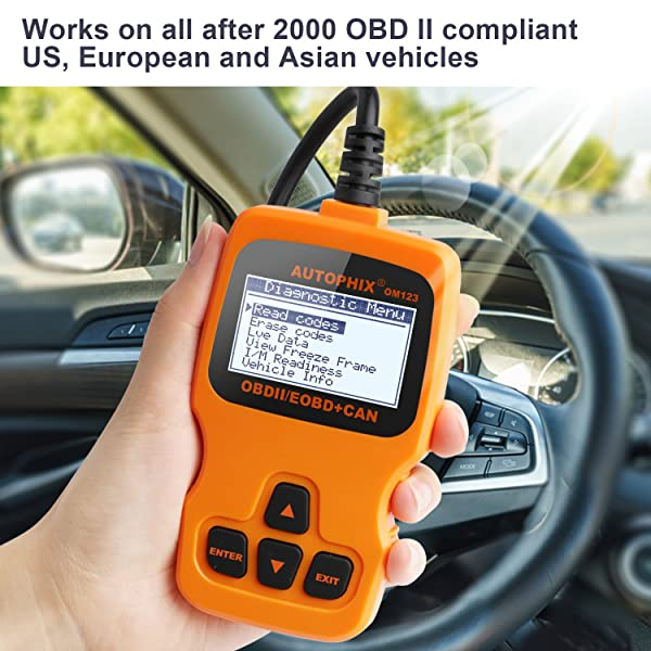 Autophix OM123 is compatible with all OBD2 compliant vehicles from US, Asian, and EU.