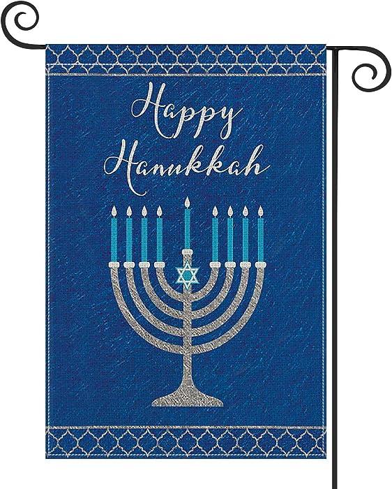 AVOIN Happy Hanukkah Garden Flag Vertical Double Sized, Jewish Menorah Yard Outdoor Decoration 12.5 x 18 Inch