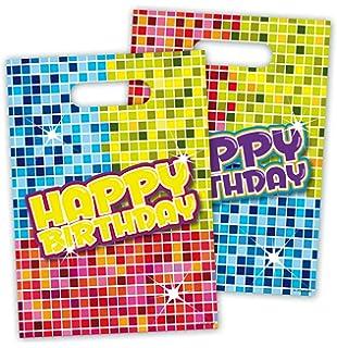 6 Partytüten * HAPPY BIRTHDAY DISCO * Mit Tragegriff Für Geburtstage //  Kinder Geburtstag Feier