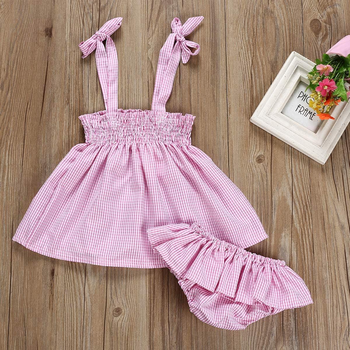 Ruffle Shorts Outfits Asisol Baby Girls Lattice Skirt Set Infant Girls Suspender Shirt
