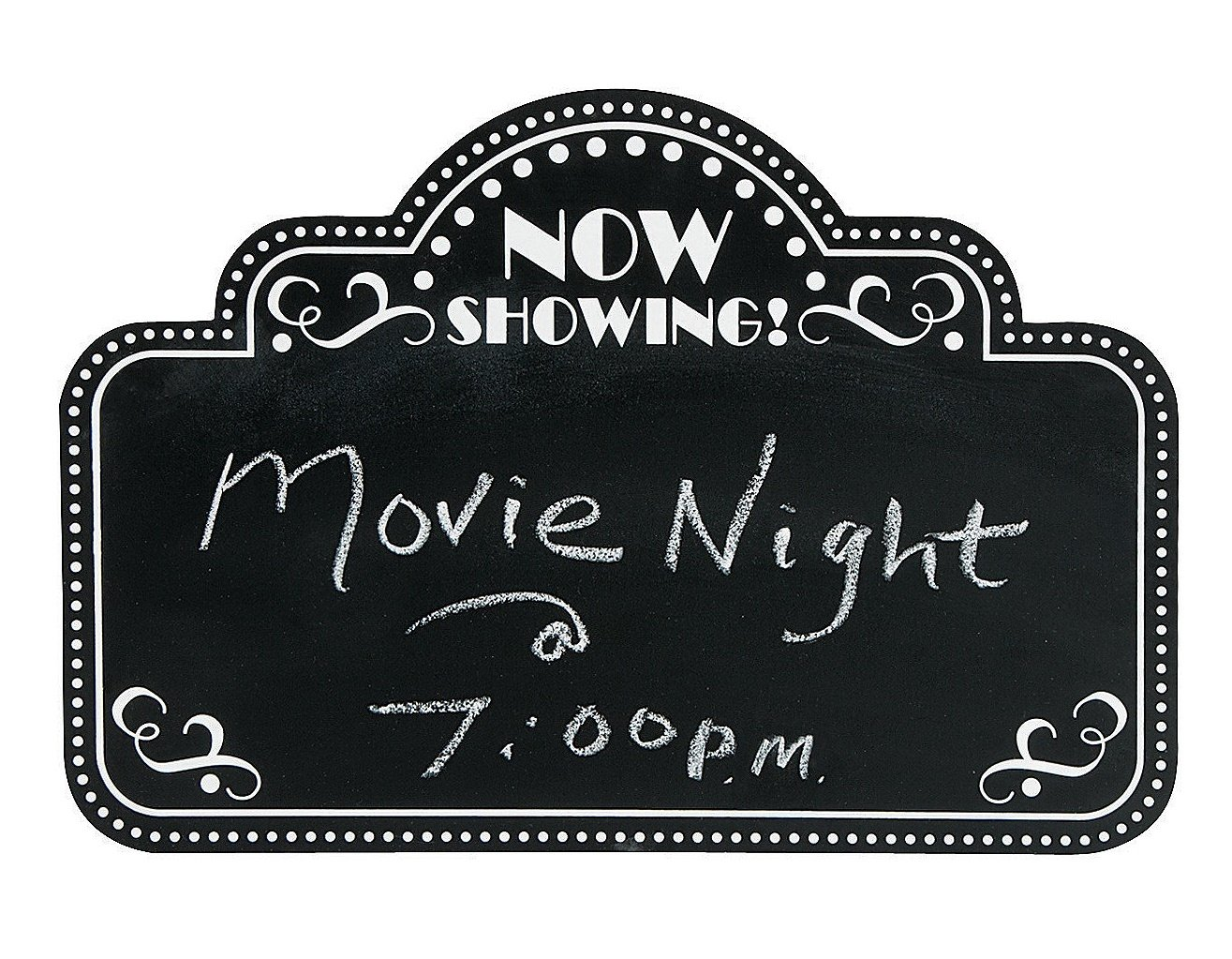 Movie Night Marquee Chalkboard Wall Decor (18'' x 12'') Wood. by Fun Express (Image #1)