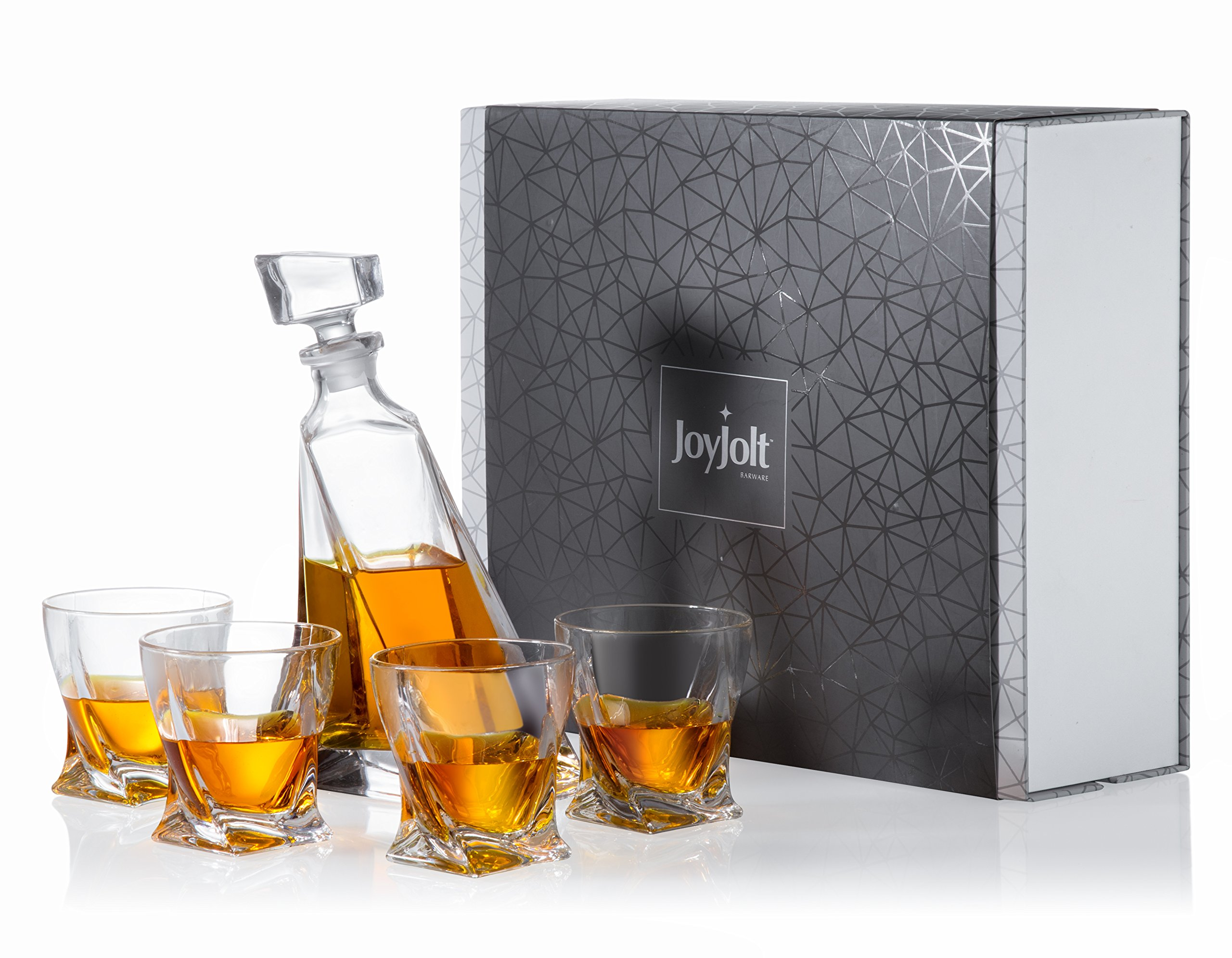 JoyJolt Atlas 5-Piece Crystal Whiskey Decanter Set,100% Lead-Free Crystal Bar Set, Crystal Decanter Set Comes With A Scotch Decanter-22 Ounces And A Set Of 4 Old Fashioned Whiskey Glasses-10.8 Ounces.