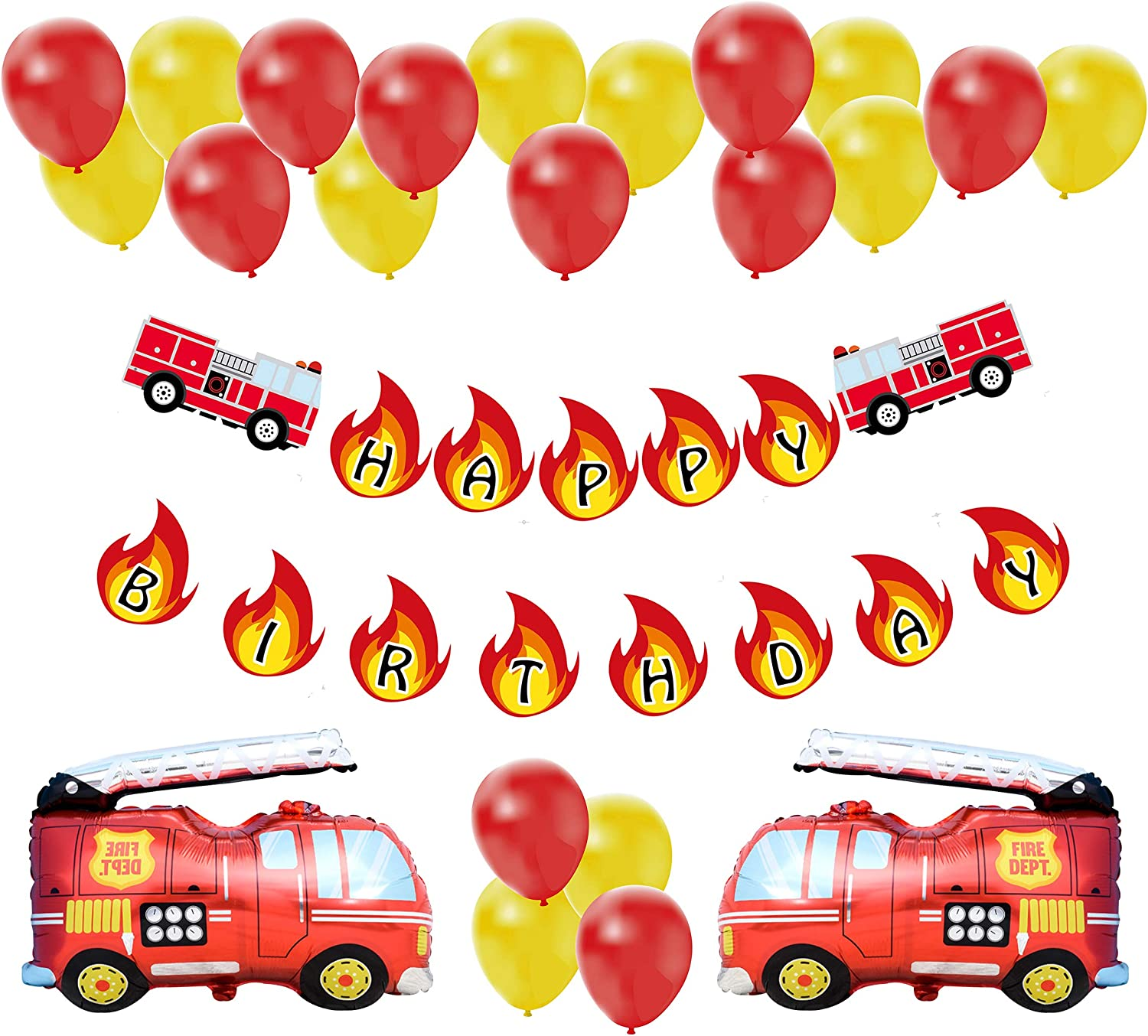 Fire Truck Birthday Party Decoration Pack | Fireman Firefighter Bday Party Banner Balloon Decor Set