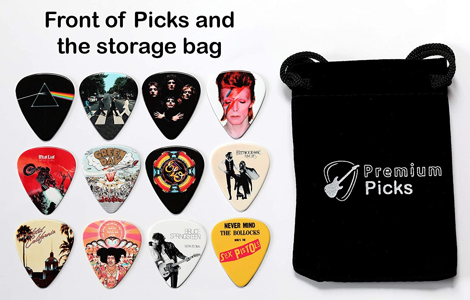 24 Classic Albums on 12 Double Sided Guitar Picks Storage Bag for your Plectrums