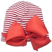 Mud Pie Baby-Girls Red Jumbo Jeweled Bow Hat, Newborn