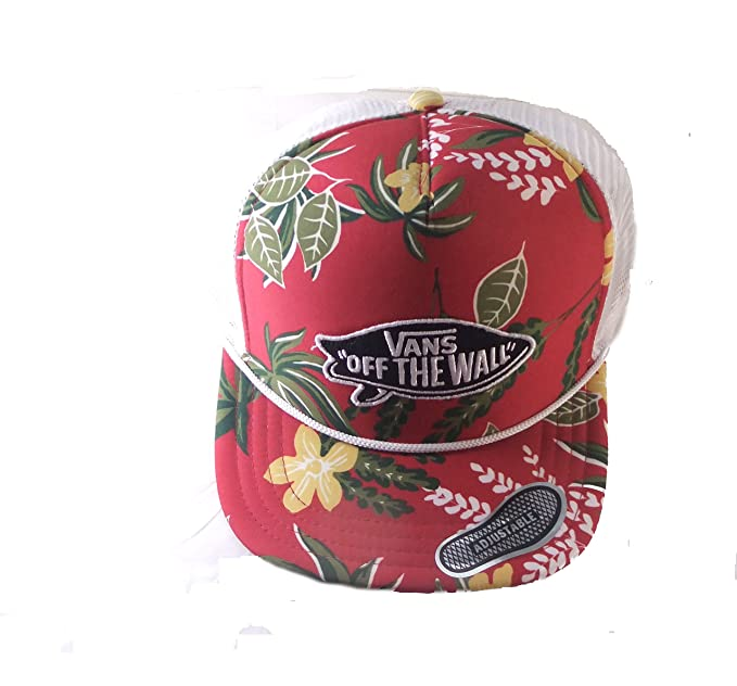 82fc800341 Image Unavailable. Image not available for. Color  Vans Unisex Surf Aloha  Red Floral Trucker Snapback Hat