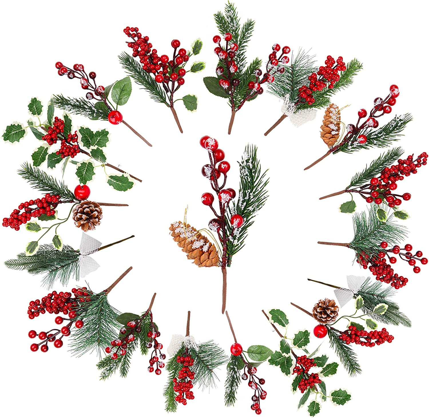 Christmas Pine Cone Picks Decorations - 18 Pack Artificial Christmas Picks and Sprays Red Berry Stem Branches with Holly Leaves for Xmas Tree Christmas Wreath Winter Holiday Wedding D¨¦cor