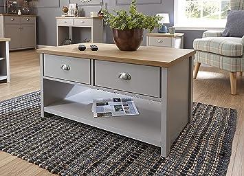 Lancaster Grey Living Room Furniture Range (2 Drawer Coffee Table)