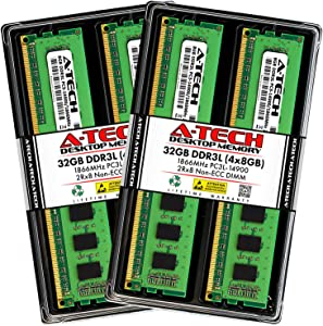 A-Tech 32GB DDR3 / DDR3L 1866MHz Desktop Memory Kit (4 x 8GB) PC3-14900 Non-ECC Unbuffered DIMM 240-Pin 2Rx8 1.35V Low Voltage Dual Rank Computer RAM Upgrade Sticks