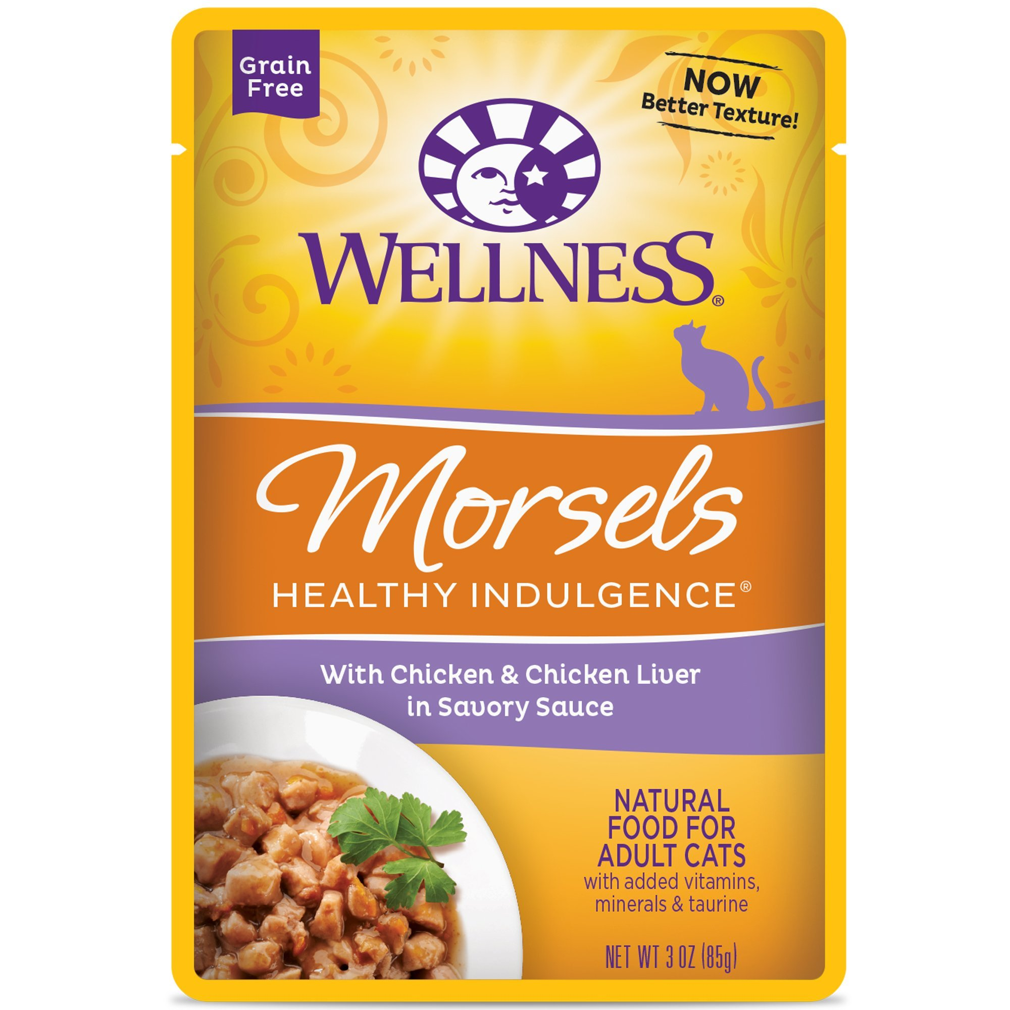 Wellness Healthy Indulgence Natural Grain Free Wet Cat Food, Morsels Chicken & Chicken Liver, 3-Ounce Pouch (Pack of 24) by Wellness Natural Pet Food