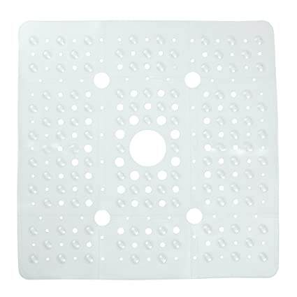 Beau SlipX Solutions Extra Large Clear Square Shower Mat Provides 65% More  Coverage U0026 Non