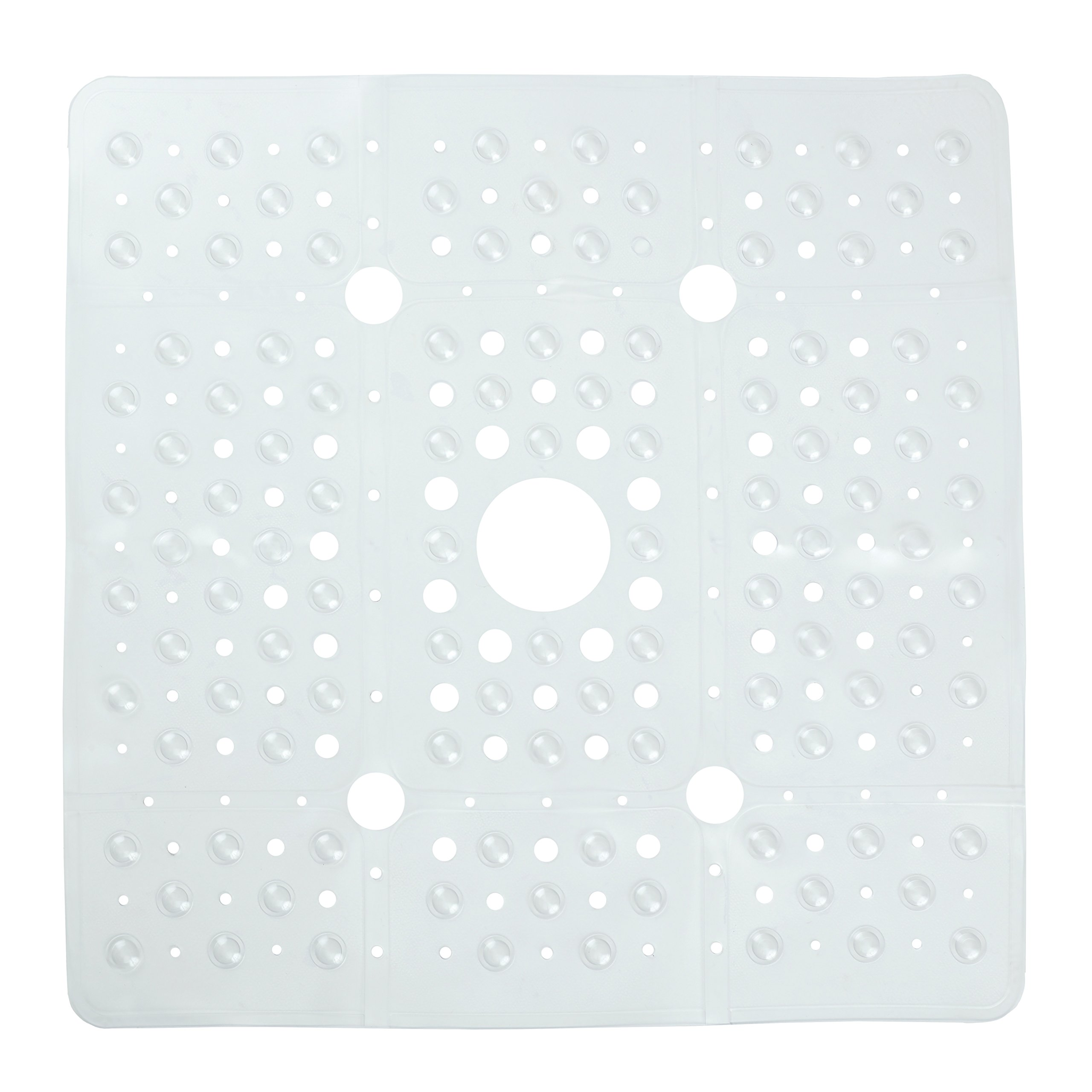 SlipX Solutions Extra Large Clear Square Shower Mat Provides 65% More Coverage & Non-Slip Traction (27'' Sides, 100 Suction Cups, Great Drainage)