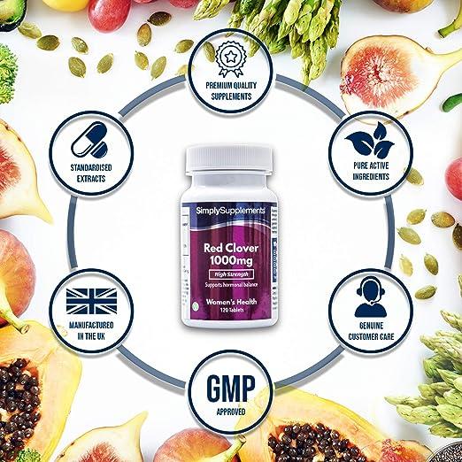Trébol Rojo 1000mg - 120 comprimidos - Hasta 3 meses de suministro - Para los síntomas de la menopausia - SimplySupplements: Amazon.es: Salud y cuidado ...