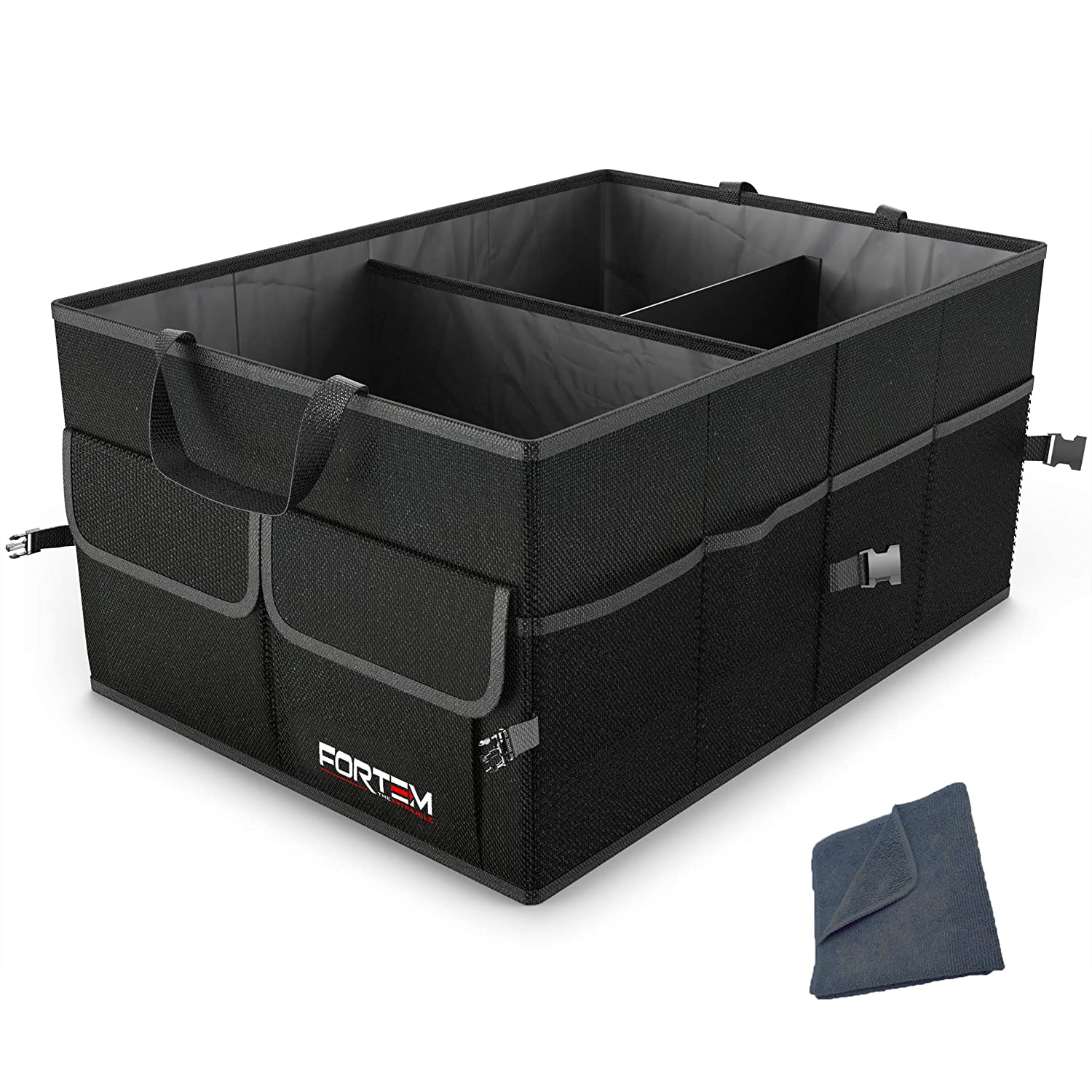 FORTEM Car Trunk Organizer for SUV Truck by FORTEM | Auto Durable Collapsible Cargo Storage | Non Slip Bottom Strips to Prevent Sliding | Securing Straps Included