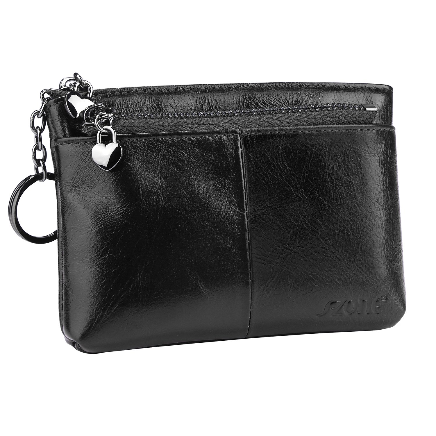 dc0d56cd63 Amazon.com  S-ZONE Women s Genuine Leather Mini Wallet Change Coin Purse  Card Holder with Key Ring (Black)  Clothing