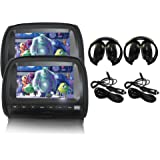 "Elinz 2x 9"" Black Touch Screen Car Headrest DVD Player Monitor Pillow 1080P 8 Bits Games USB SD MMC Card Slot Sony Lens…"
