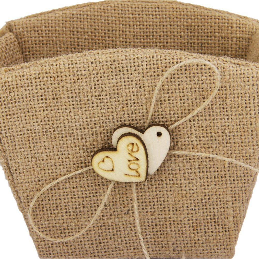 WINOMO Double Heart Wedding Flower Girl Basket with Bowknot by WINOMO (Image #2)