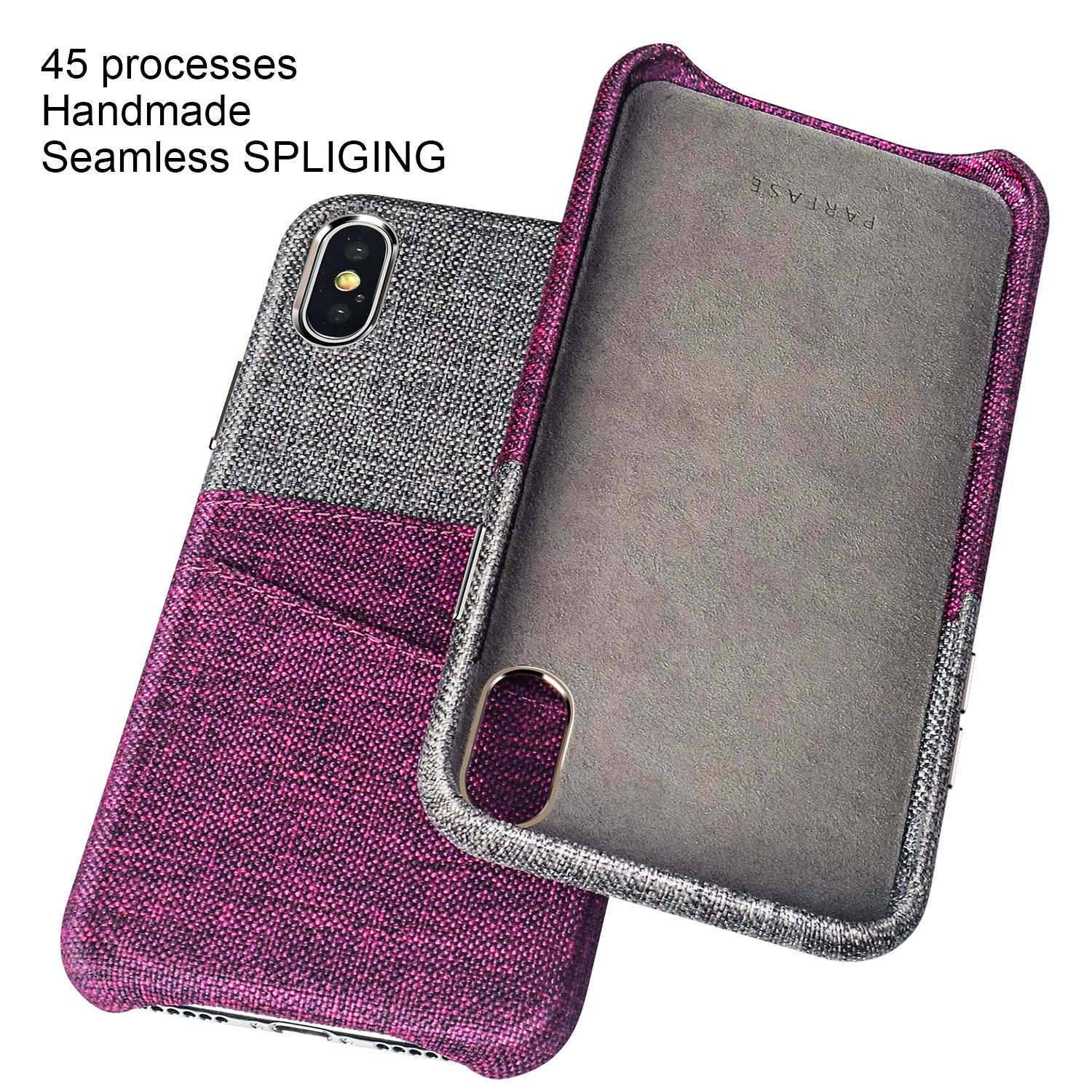 PARFASE iPhone Xs Max Wallet Case, iPhone Xs Max Case Soft Cloth Fabric Case with 2 ID Credit Card Holder Slots for Apple iPhone Xs Max 6.5 inch (Gray/Rufous)
