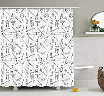 Doodle Shower Curtain Hand Drawn Style Medical Pattern With Dental Hygiene Theme Teeth Care Cleaning
