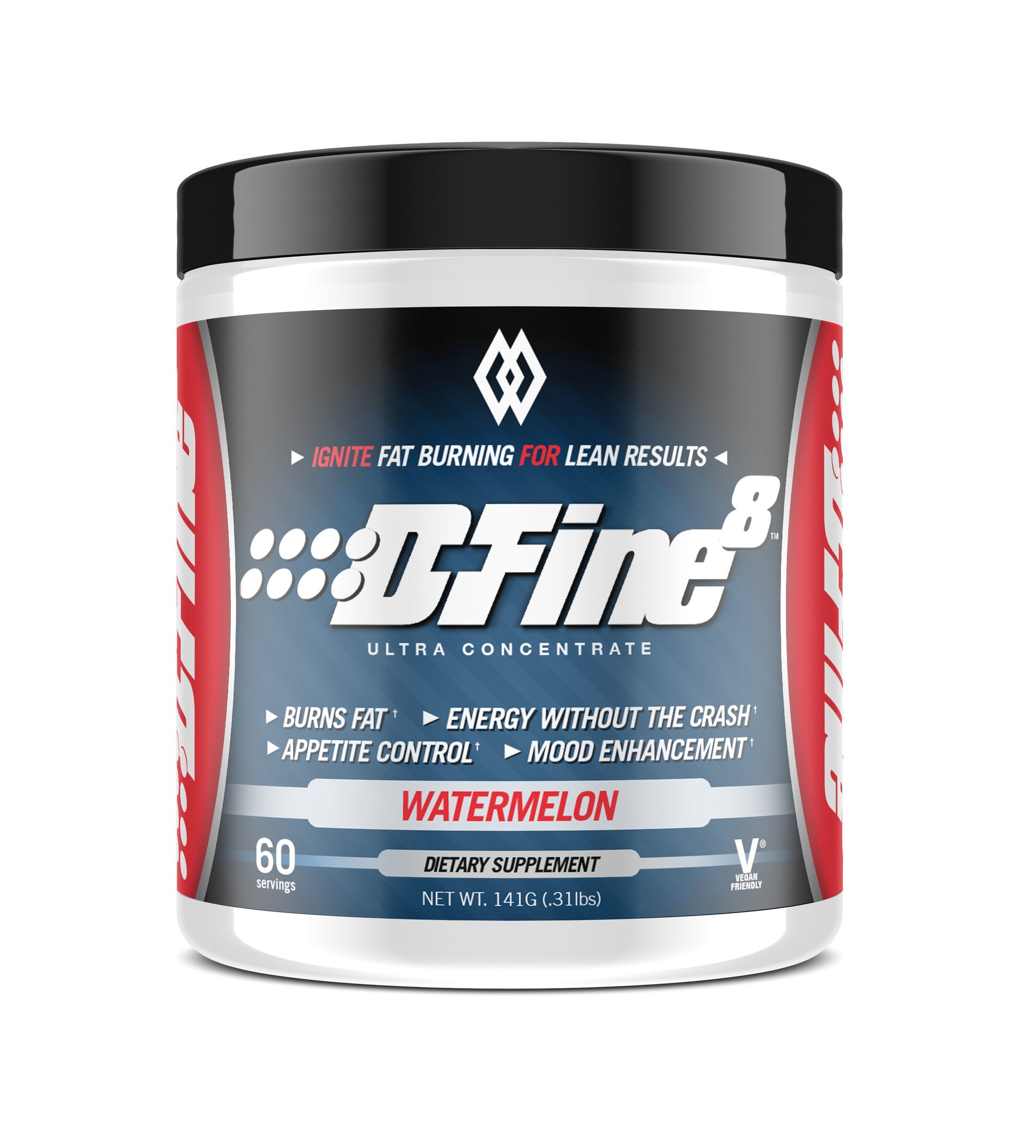 Musclewerks D-Fine8 - Fat Burner Thermogenic, Pre Workout Powder, Appetite Suppressant, Energy & Weight Loss Supplement for Men & Women - 60 Servings Vegan Friendly (Watermelon)