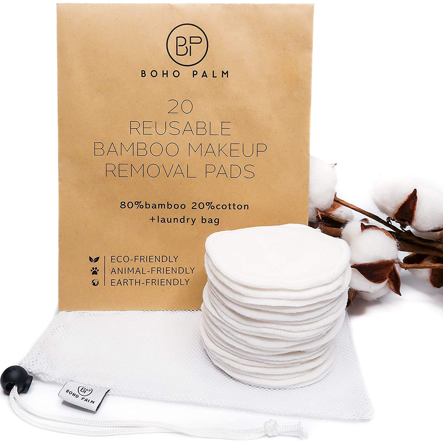 Boho Palm Reusable Eye Makeup Remover Pads - Soft Bamboo Velour Rounds - Organic Natural Cosmetic Face Wipes - Washable Gentle Facial Cleansing and Cleaning Cloths - 20-Pack Microfiber Laundry Bag