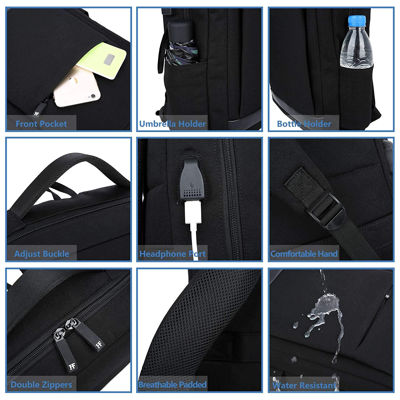 G1 Alfheim Mochila para port/átil para Mujer para port/átil de 15 Pulgadas,Impermeable/&De m/últiples Fines/&Ligero Bolsa con Soporte de Botella de Puerto USB para el Trabajo Escolar para Mujer