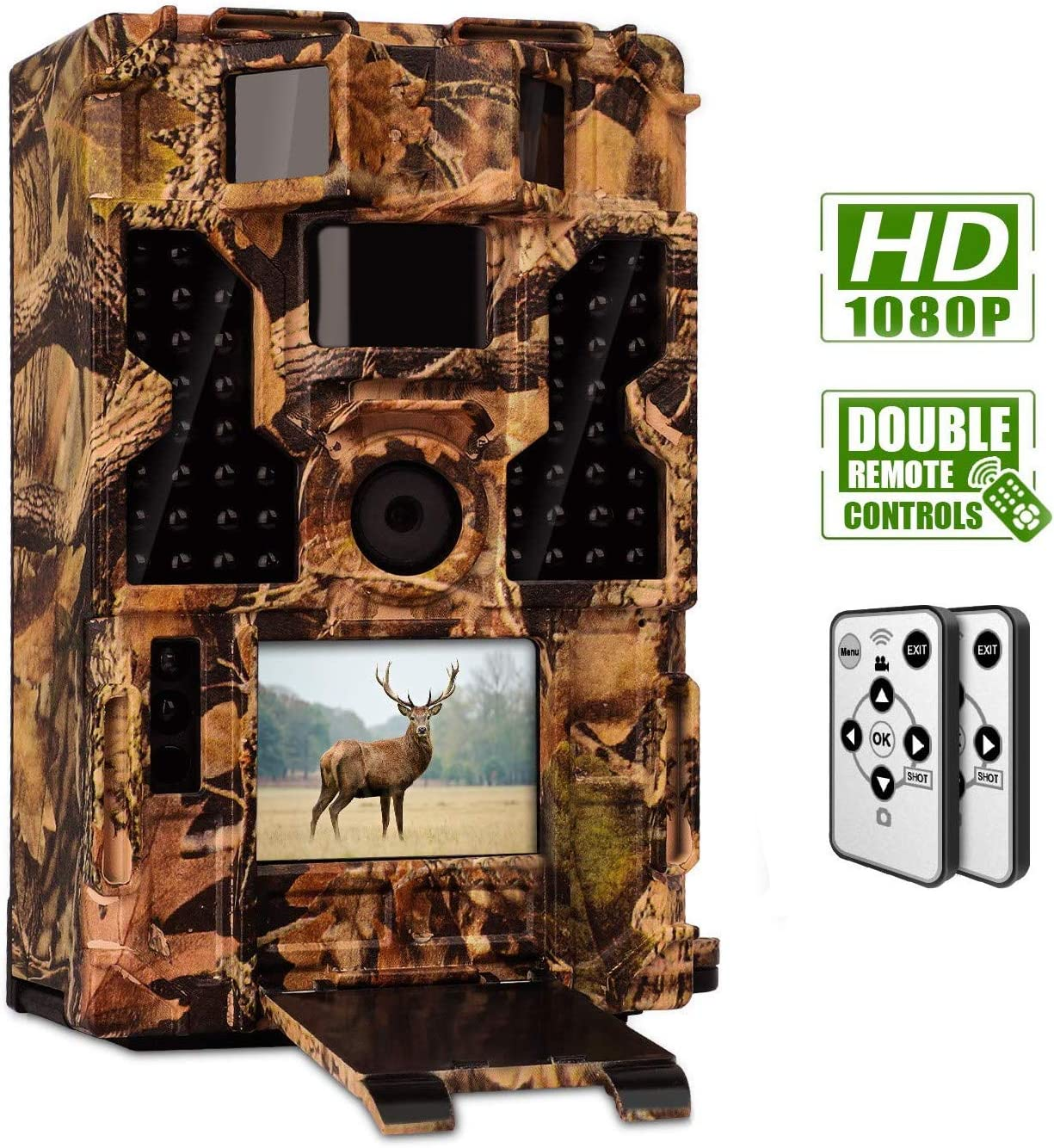 CLOBO Trail Camera- Waterproof 20MP 1080P Game Camera with Night Vision Motion Activated 0.2s Trigger Speed 3PIR 48IR LEDs 120 Detecting Range Cams Time Lapse for Wildlife Monitoring Home Security