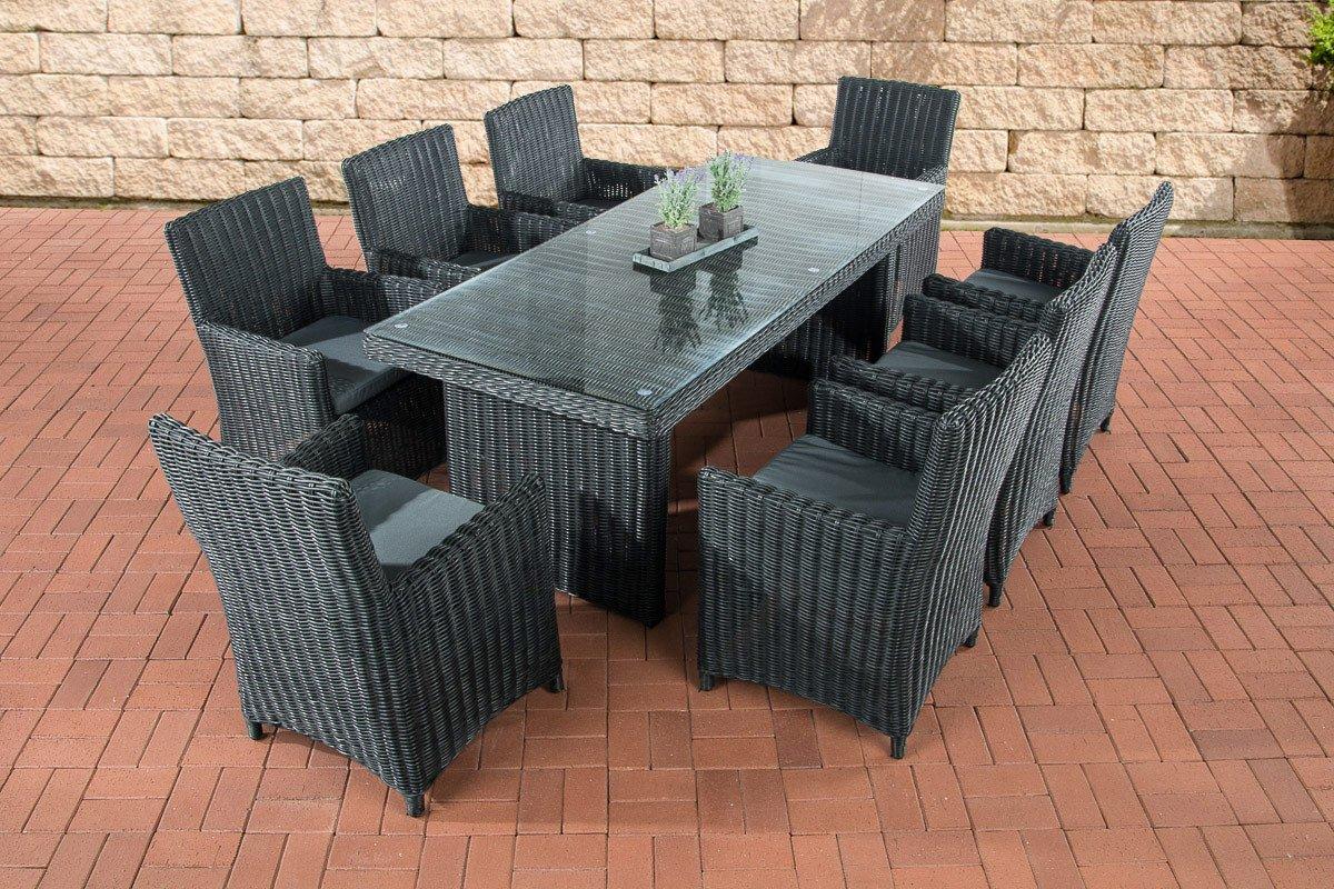 CLP Polyrattan Sitzgruppe FONTANA XL, schwarz, (8 Stühle mit Tisch 199 x 90 cm) INKL. bequemen Sitzkissen, Premiumqualität: 5 mm Rund-Rattan schwarz, Bezug: Eisengrau