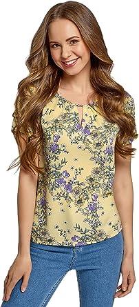 oodji Ultra Mujer Blusa Ancha con Escote Gota: Amazon.es: Ropa y accesorios