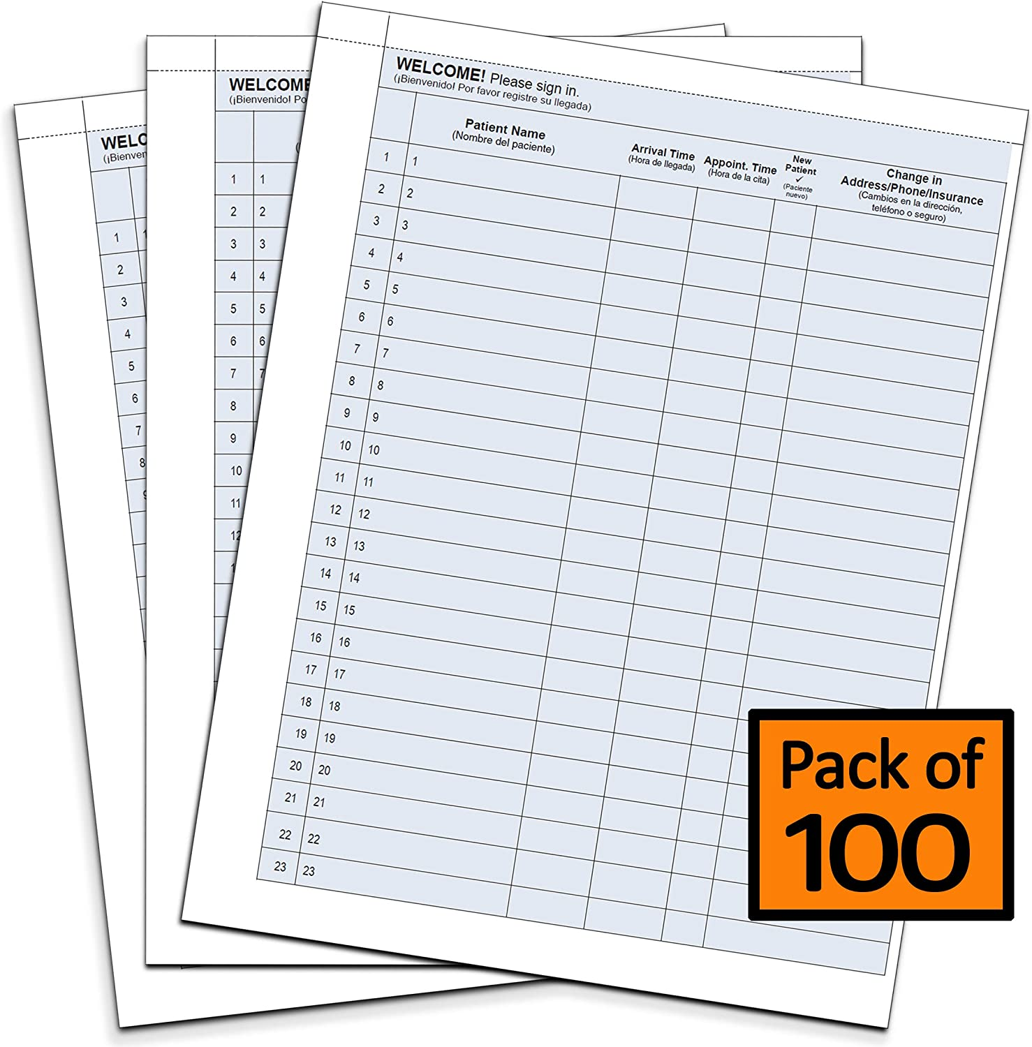 """Patient Sign in Sheets HIPAA Compliant [8-1/2"""" x 11""""] – 100 Premium English/Spanish Medical Office Sign in Sheets with 23 Peel-Away Labels Per Sheet – Includes Hidden Duplicate Copy for Records"""