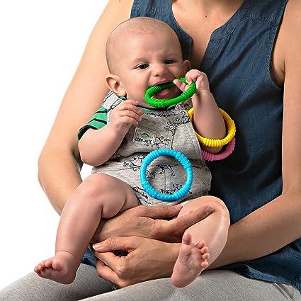 Mordedor Bebé Silicona en Anillas de Babynow [Pack 4] Reduce el Dolor de Encías y Tranquiliza al Bebé - Sin BPA