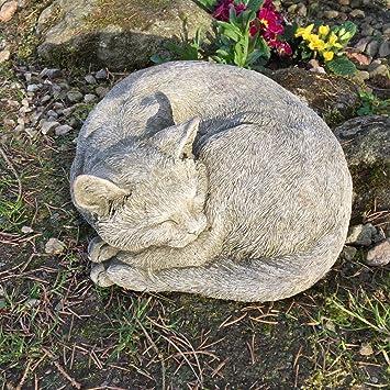 Antikas - gato que duerme - estatua de animal decoración jardín figuras de piedra - decoración de exterior - estatuas escultura de piedra: Amazon.es: Jardín