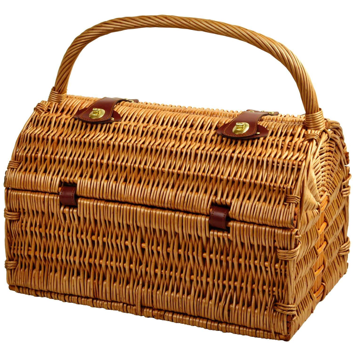Picnic at Ascot Sussex Willow Picnic Basket with Service for 2, with Coffee Set and Blanket – London Plaid