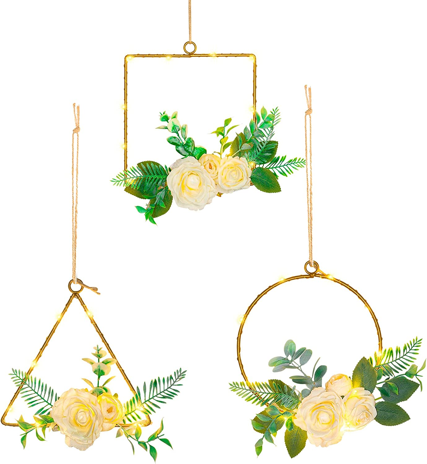 FUNPENY Floral Hoop Wreath with Lights, Set of 3 Metal Artificial White Rose Hanging Circles, Triangles and Squares with LED Light, Wall Hoop Garland Valentine's Day Wedding Nursery Wall Decor