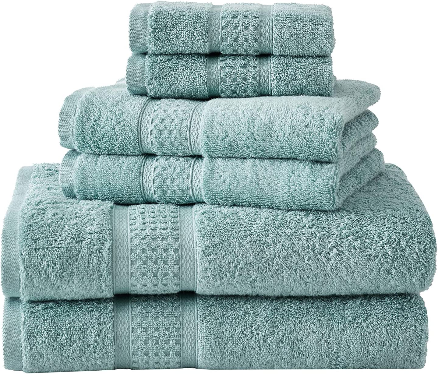 Nautica | Oceane Collection | 6 Piece Antibacterial Towel Set- Decorative Luxury Hotel & Spa Quality Bathroom Linens, Absorbent & Fade Resistant, 6 Piece, Turquoise