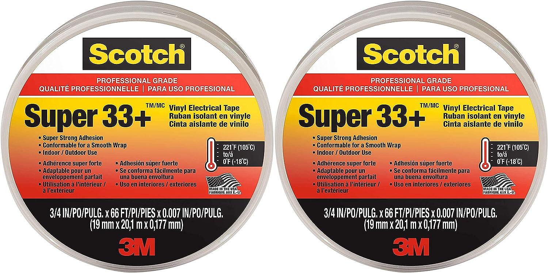 2 Pack Scotch Super 33 Vinyl Electrical Tape.75-Inch x 66-Foot x 0.007-Inch Pack of 10
